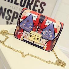 Fashion Women Bag Designer Graffiti Chain Crossbody Luxury Leather Handbag Purse