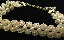 Elegant Faux Pearl Clusters Choker Collar Necklace Creamy White Lightweight Vgt