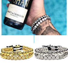 Luxury Micro Pave CZ Ball Gold Crown Braided Copper Bead Couple Bracelets Gift