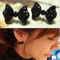 1Pair New Cute Black Rhinestone Crystal Bowknot Bow Tie Ear Stud Earrings