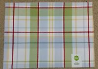 """Food Network Patio Picnic Placemat 14""""x19"""" Red Green Blue Plaid Rectangular NWT"""