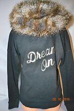 Victorias Secret Supermodel Essentials Fur Hoodie Foil Bling DREAM ON NWT S