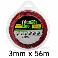 3mm Long Strimmer Line Trimmer Brush Cutter Wire Round 3.0mm 56m Spool Refil
