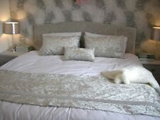 SILVER GREY CRUSHED VELVET BED RUNNER + CUSHION BLING DOUBLE BED JEWEL DIAMANTE