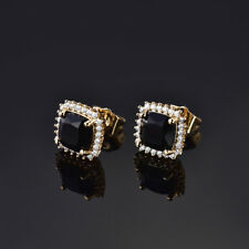 HUCHE Black Sapphire Yellow Gold Filled Luxury Women Party Banquet Earrings Stud
