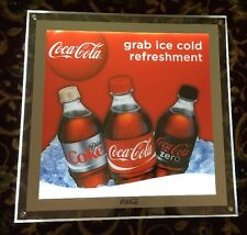 "Coca Cola ""Grab Ice Cold Refreshment"" Light Up Sign (20""X 20""X 1-1/4"") Dbl-sided"
