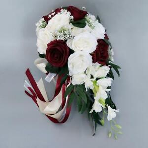 Boda novia ramo mano atada flor decoración para boda fiesta chaise longue rosas