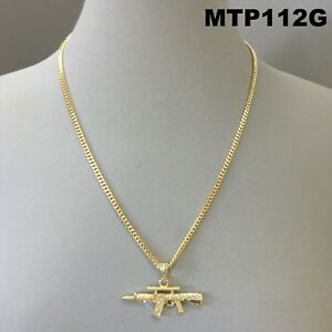 Ak-47 Gun Design Pendant Clear Rhinestones Gold Finish Cuban Link Chain Necklace