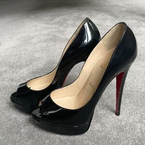 Christian Louboutin Black Lady Peep 150 Patent Leather Heels Size 38 Uk5