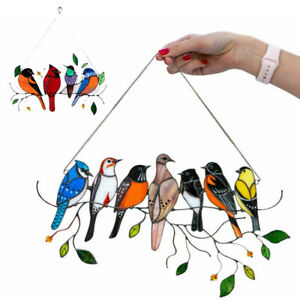 Multi-color Birds On A Wire High-Stained Display Suncatcher Window Decoration OZ