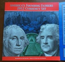 AMERICA'S FOUNDING FATHERS 2012 CURRENCY SET $1 and $2 Notes Matching Number.