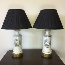 A PAIR OF PORCELAIN TABLE LAMPS    Ref  a12543