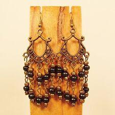 "2 1/2""  Gypsy Style Black Gold Metal  Handmade Chandelier Seed Bead Earring"