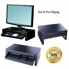 Monitor Riser Stand Computer Drawer Tablet Storage Office Tray Black Shelf Home
