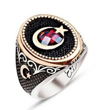 925 Sterling Silver Mens Ring, moon and star