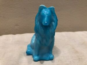 Sweet MOSSER GLASS Sitting Collie Dog Figurine MILK BLUE SLAG #3