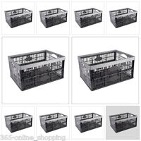 32L Plastic Folding Storage Container Basket Crate Box Stack Foldable Portable