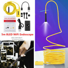 5M 8LED WiFi Endoscope Borescope Inspection 1200P Camera IP68 For iPhone Android