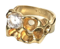 Vintage 14K Yellow Gold Nugget HGE Mens CZ Cubic Zirconia Ring Size 10.5