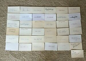 BASEBALL Group of THIRTY SEVEN Autograph Signed 3x5 Mostly Deceased Players