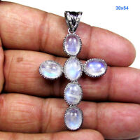 Rainbow Moonstone Pave Diamond 925 Sterling Silver Cross Fine Pendant ODS61