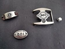 LEVI'S AMERICAN 501 JEANS Silver Chrome 4 Pc Belt Buckle-Holder-Metal Insignia