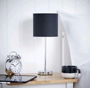 Milan Long Black Table Lamp Lights Silver Chrome Effect Base Bedside Living Room