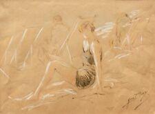 Yves Diey (1892-1984), signierte Zeichnung, Badende mit Liegestühlen am Strand