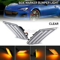 Pair Clear LED Side Marker Bumper Light Lamp For Toyota 86 Subaru BRZ Scion
