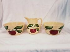 WATT APPLE WARE #62 SMALL PITCHER & TWO #5 BOWLS