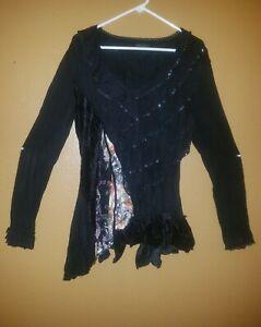 Steampunk Gothic Retro Rave Vintage Dark Victorian Long Sleeve Sexy Lacey Shirt