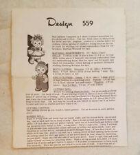 Vintage Sock Dolls Pattern Sheet, Design 559