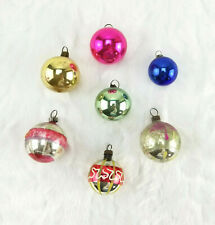 7 Antique Assorted Solid/Painted Glass Ball Feather Tree Christmas Ornaments