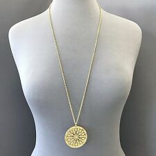 Boho Style Long Matte Gold Finish Chain Large Filigree Circle Pendant Necklace