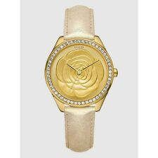 New Authentic Guess Ladies Watch Gold Leather Strap Gold tone Rose dial U85114L1