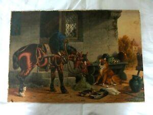 Mid 19th C Watercolour ' Horse, Dog & Ducks' by CE Brittan Senior - Signed
