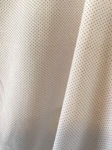 """Vintage Cottagecore Semi Sheer White Fabric w Red Dots 10 Yards X 44"""""""