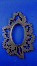 ancien cadre porte photo epoque 1925 medaillon bois decoupé decor feuillage