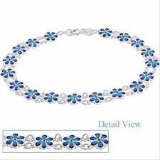 Sterling Silver Blue Enamel Flower Bracelet