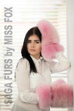 Saga Shadow blue fox full fur huge mittens.Pink.