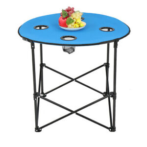 71.5*71.5*61cm Oxford Cloth Steel Round Outdoor Portable Folding Table Blue