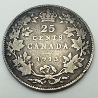 1913 Canada Twenty Five 25 Cents Quarter .925 Silver Canadian Coin C245