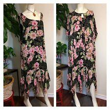 Eva Blue Plus 24 Dress Black Pink Flower Asymmetrical Hem w/Beaded Shawl Formal