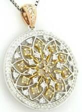 CANARY YELLOW ORANGE DIAMOND CIRCLE NECKLACE PENDANT 1.63 CT