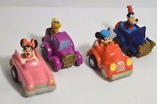 McDonald's 1988 Set of 4 Disney Mickey's Birthdayland Pullback Cars Cake Toppers