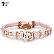 TT Rose Gold S.Steel Crystal Beaded Tri-Row Bracelet Pink (BR217BZ)NEW