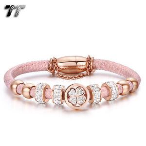 TT Rose Gold S.Steel Crystal Beaded Tri-Row Bracelet Pink (BR217BZ)NEW