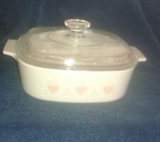 """Corning Ware Corelle """"Forever Yours"""" A 2 B 2 Quart Covered Casserole With A 9"""