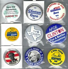 1992 CAMPAIGN BUTTONS ON A PAGE COLLECTION - CLINTON, ROCKEFELLER, WILDER +
