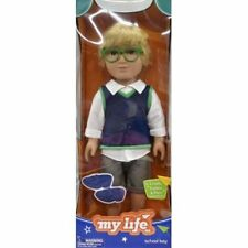 "MY LIFE SCHOOL BOY DOLL 18"" EXCLUSIVE BLOND HAIR GREEN EYES GLASSES LOAFERS"